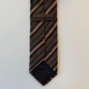 Ermenegildo Zegna Green Stripe Mens Tie